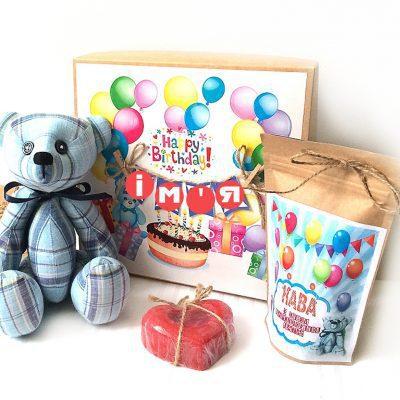 Подарок для девочки или дочки на День рождения с мишкой и кофе