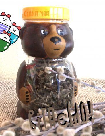Баночки для чаю. Цікаві подарунки. Баночка ведмедик із чаєм 750г.