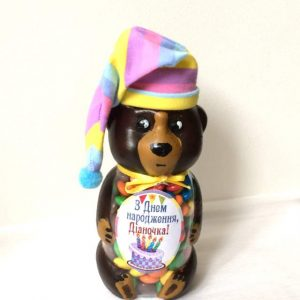 Подарок девочке на День рождения. Баночка с конфетами. Баночка мишка Барни.
