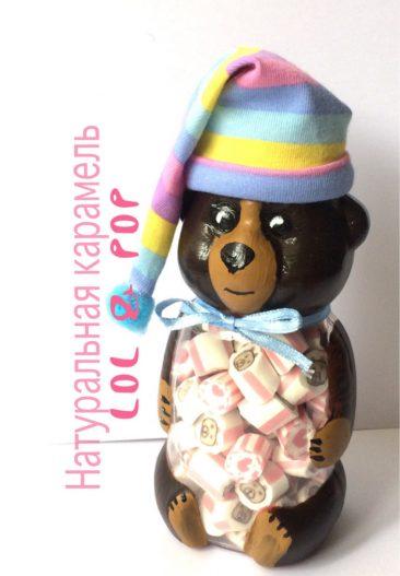 Натуральна карамель в баночці ведмедик. Баночка 230г у вигляді ведмедика.