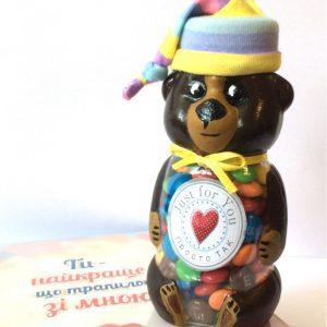 Баночка мишка с конфетами М&Ms.