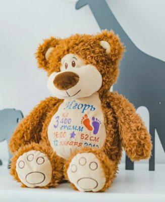 Подарок ребенку. Именная мягкая игрушка с метрикой. Медвежонок.
