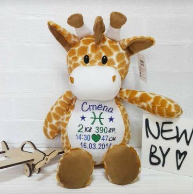 Именная мягкая игрушка Жирафик
