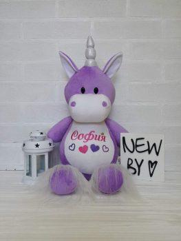 Іграшка з вишивкою імені фіолетова Единорожки (Київ)