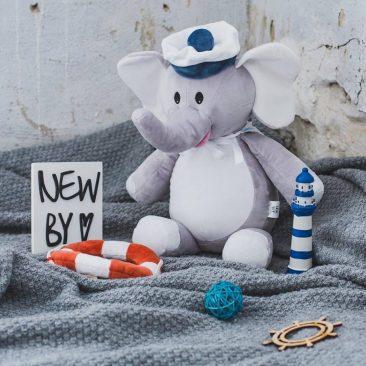Унікальний подарунок на День народження хлопчика. Іграшака м'яка іменна СЛОНИК морячок.