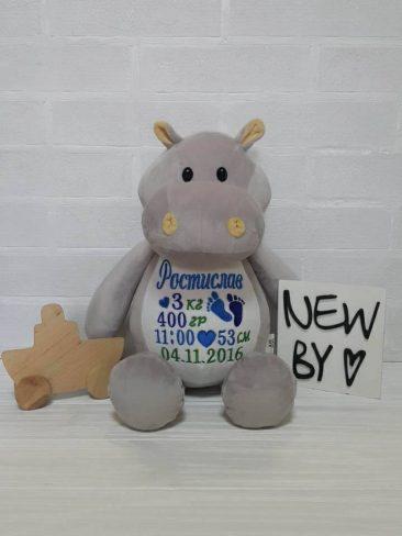 Подарунок дитині іграшка з метрикою БЕГЕМОТИК (Україна)