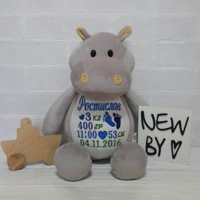 Подарок ребенку игрушка с метрикой бегемотик без колпачка (Украина)