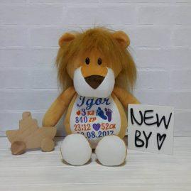 Подарунок дитині іменна іграшка з метрикою Левеня (Україна)