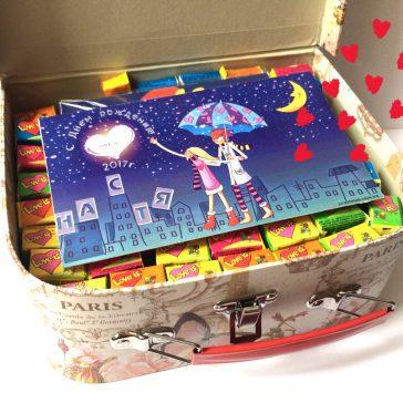 Купить коробка чемодан с подарками. Love is подарочный набор, шоколад Love is ... , жвачки Love is ... , мыло Love is ...