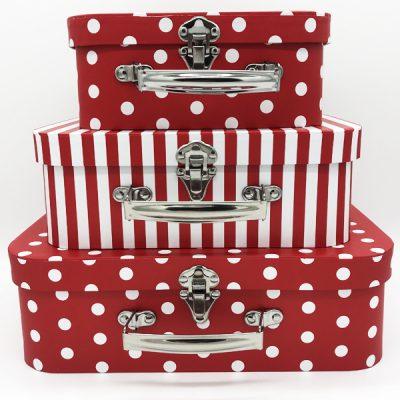 Коробка чемодан красная в белый горошек