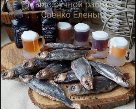 """Мило ручної роботи """"рибка з пивом"""" подарунковий набір для чоловіка, що подарувати чоловікові на День народження"""