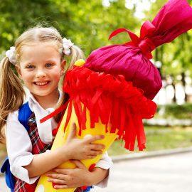 Подарок на 1 сентября для ребенка первоклассника. Подарок для мальчика или девочки. Кулек с подарками (Schultuten) Украина.