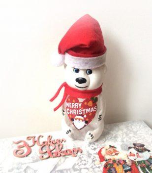 Подарунок дитині на Новий рік. Баночка 230мл. Ведмедик Санта Merry Christmas.