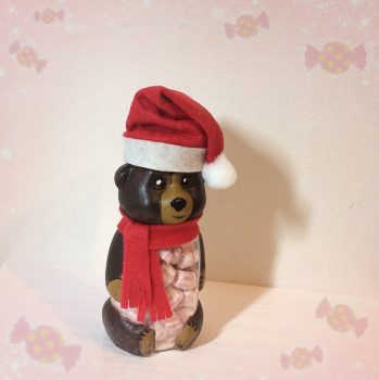 Цукерки в баночці ведмедик Санта (коричневий)
