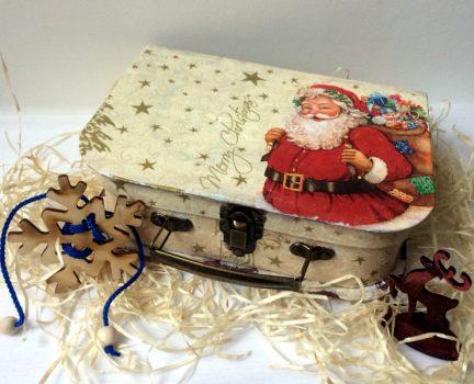 Подарункова упаковка новорічна, ЧЕМОДАН із Дідом Морозом