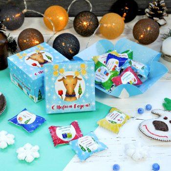"""Шоколадный куб """"С Новым годом!"""" Подарок на Новый год. Новогодние сладости, недорогой подарок на новый год, новогодние подарочные наборы, идеи подарков"""