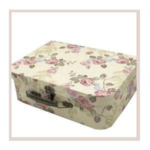Подарочная коробка чемодан с розочками
