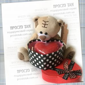 Купить мишку. Мишка с коробкой сердцем
