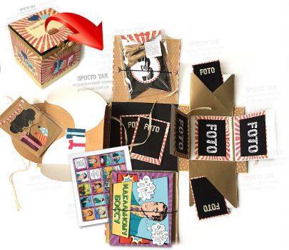 Подарок для шефа в коробке спиртное и шоколад