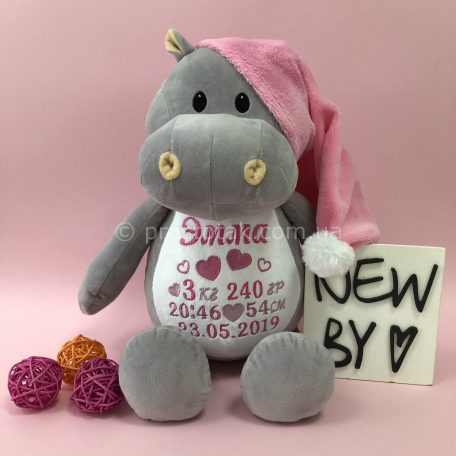 Іграшка бегемотик у рожевій шапочці із метрикою на замовлення