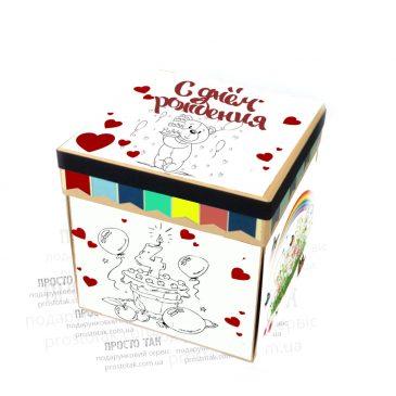 Подарунковий набір для дитини на День народження в коробці КУБ 20х20х20см