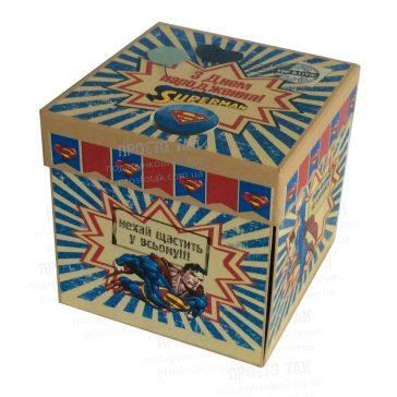 Коробка куб 20х20х20см з днем народження СУПЕРМЕН