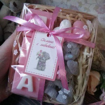Подарочный набор из мыла МИШКА ТЕДДИ и кубики (имя)
