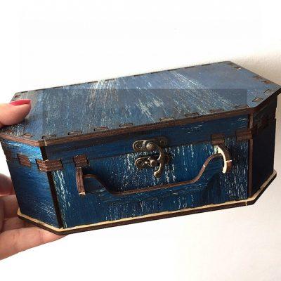 Коробка для подарка чемодан из дерева Джинс