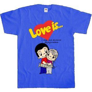 Футболка синяя для подарочного набора love is...
