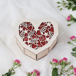 Деревянная подарочная коробка сердце листья и сердца