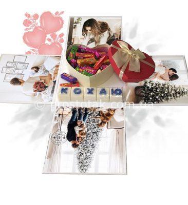 Коробка куб 20х20х20см с фотографиями и сердцем