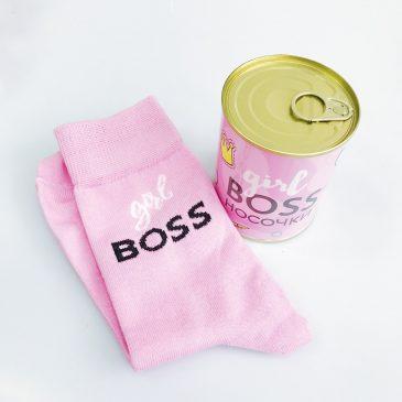 """Подарок для девушки. Консерва-носок """"Girl boss"""""""
