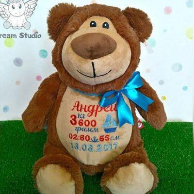 Ведмедик із метрикою гарний подарунок для дитин. Подарок ребенку на день рождения МИШКА с метрикой