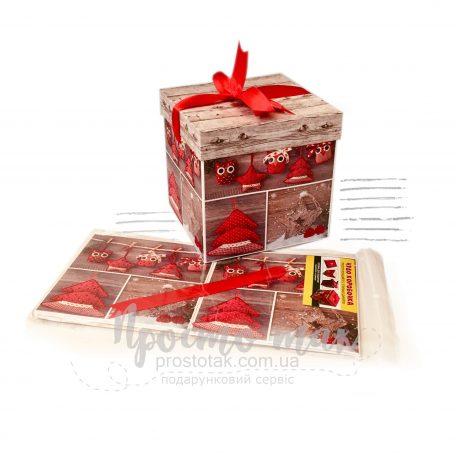 Новогодняя коробка куб 15Х15Х15см с декором и символом года
