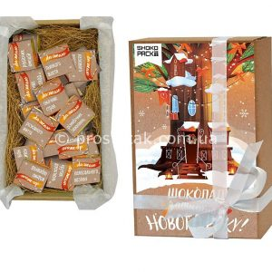 """Крафт набор на 30 плиток молочного шоколада""""Затишного Нового року"""""""