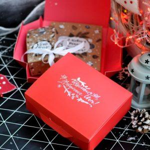 """Шоколадный набор """"Новорічний крафтовий"""" 100г и Чай """"New Year"""""""