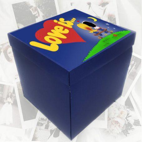Куб синий Love is с фотографиями