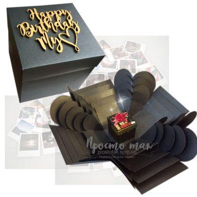Коробка куб memory box с надписью на крышке