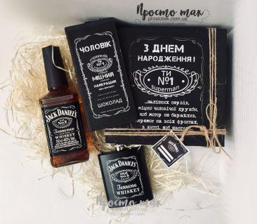 Jacke Daniels набор Black Jack №7 с виски, флягой и шоколадом
