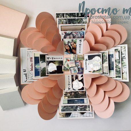Розовая коробка куб с фотографиями и шоколадками