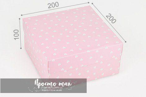 Коробка розовая 20х20х10см в сердечках