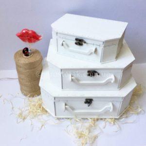 Коробка чемодан із дерева білого кольору