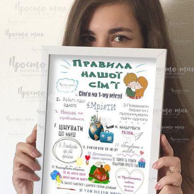 """Постер """"Правила нашої сім'ї""""(Kiev) A4"""