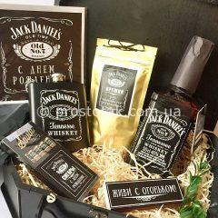 Подарок мужчине с виски Jack Daniels, флягой Jack Daniels и сигарами