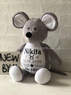 Іграшка із метрикою новонародженого Мишеня
