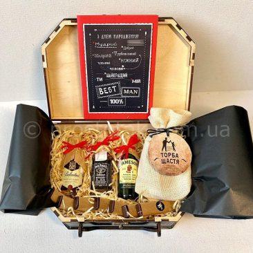 Подарочный бокс для мужчины с спиртными миниатюрами