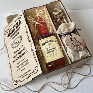 """Wooden box """"Заначка"""" Jack Daniels с """"Торбою щастя"""""""