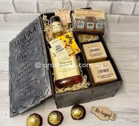 """Wooden box """"Заначка"""" с медовыми виски Jack Daniel's"""