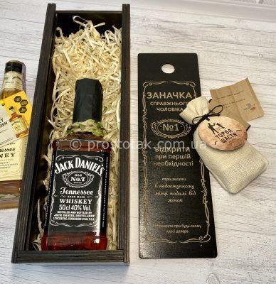 Wooden box slim «Заначка» с виски Jack Daniel's
