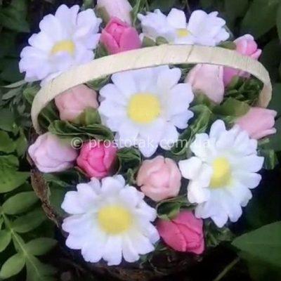 Корзина цветов из мыла